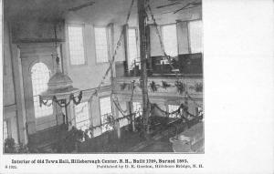 Hillsborough Center New Hampshire Old Town Hall Interior Antique Postcard K97068
