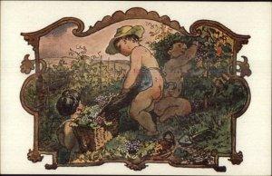 Bare Butt Babies Picking Wine Grapes J. MANES Vinobrani c1910 Postcard