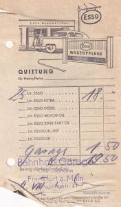 Frankfurt 1950s German Esso Petrol Receipt