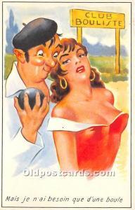 Old Vintage Lawn Bowling Postcard Post Card Club Bouliste Unused