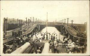 Panama Canal Sailors on Deck of Ship Gatun Locks c1920 Real Photo Postcard