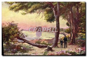 Old Postcard View From Cannes Vieux Chateau Saint Honorat