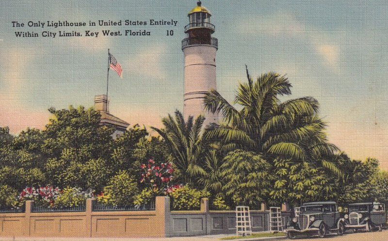 KEY WEST, Florida, PU-1944; The Only Lighthouse In United States Entirely Wit...