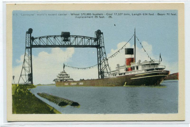 SS Lemoyne Great Lakes Steamer World Record Grain Carrier Canada postcard