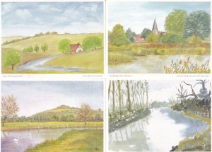 River Itchen Stockbridge Test Ashe 4x Hampshire WI Painting Postcard s