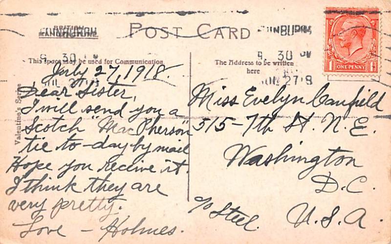 Scotland, UK Old Vintage Antique Post Card Edinburgh from the Castle 1918