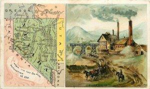 Vintage Trade Card Advertising Arbuckles' Coffee No.89 Nevada Map Silver Mining