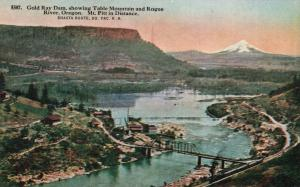 Gold Ray Dam, OR, Table Mountain & Rogue River, Vintage Postcard f6545
