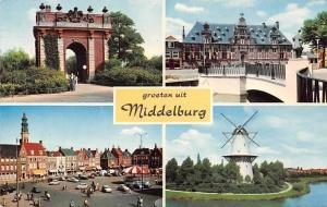 Netherlands Groeten uit Middelburg, Arch Bridge Town Hall Square Auto Cars Mill
