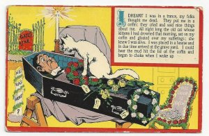 White Cat laughing at man in coffin, Dream, PU-1909