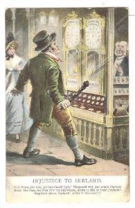 Injustice to Ireland Poem, man astonished looking at clocks, 00-10s
