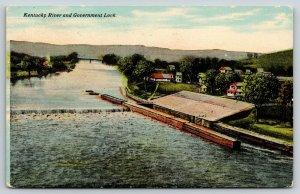 Lockport? Kentucky~Government Lock #3? on River~Dam~Rural Houses~c1910 Postcard