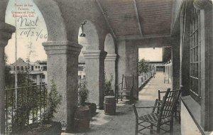 Paseo de las Palmas, Glenwood Hotel, Riverside, CA 1906 Hand-Colored Postcard