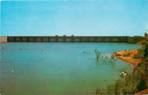 Oklahoma City~Canton Lake Spillway~Outboard Motor Boat~1960s Postcard