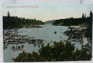 Antique Canadian Postcard Regatta at the Gorge Victoria British Columbia BC 1911