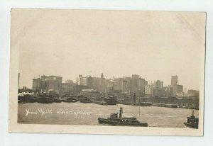 REAL PHOTO POSTCARD ~  Ships ~ NEW YORK WATERFRONT ~ Circa 1909