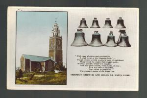 Mint Picture Postcard Ireland Shandon CHurch and Bells Cork