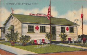 Evansville Indiana outside view Red Cross Canteen linen antique pc (Y9789)