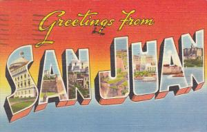Puerto Rico Greetings From San Juan Large Letter Linen 1952