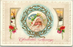 Vintage CHRISTMAS Embossed Postcard SANTA CLAUS in Blue Stocking Cap 1911 Cancel