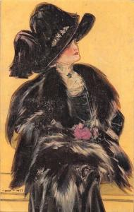 Black Fancy Dress, Overcoat Coat, Lady Woman Dame, Postcard
