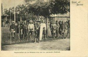 indonesia, BORNEO, Dayak Headhunters Mahakam River, Chief Shield (1899) Postcard