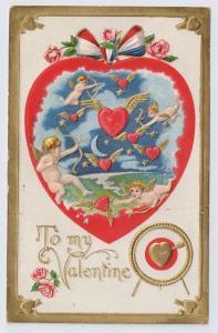 Cherubs Cupid Winged Flying Hearts Embossed Gold Unused Vntg Valentine Postcard