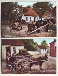 P853 old cards irish farm yard coal of the country black turf, turf cart donkeys