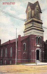 New Castle Indiana Christian Church Street View Antique Postcard K27492
