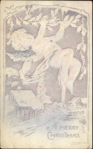 Christmas - Cherub w/ Holly Branch Silver/Embossed c1910 Postcard