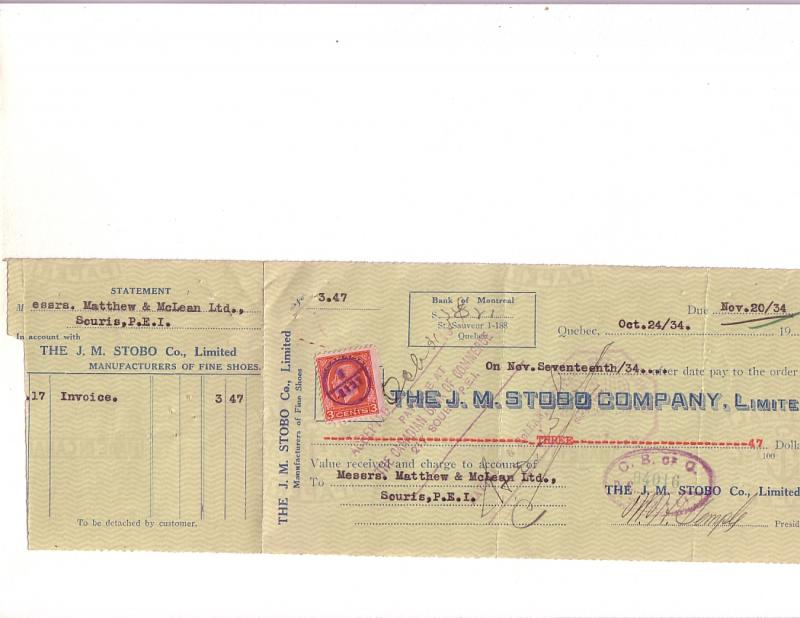 Custom Cheque from JM STOBO Company, Manufacturers Fine Shoes, Quebec,