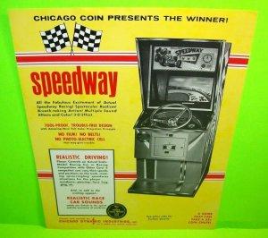 Speedway Arcade FLYER Chicago Coin Original 1969 Vintage Speed Race Driver
