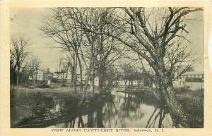 Ashaway Rhode Island~Houses along Pawtucket River~1940s B&W Postcard