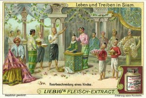 siam thailand, Hair Cutting of a Young Child (1899) Liebig Trade Card