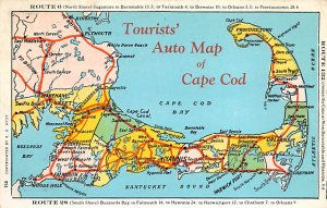 Auto Map of Cape Cod USA Postcard PU Unknown