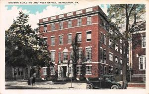 Dodson Building & Post Office, Bethlehem, Pennsylvania, Early Postcard, Unused