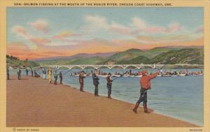 Oregon Salmon Fishing At Mouth Of The Rogue River Oregon Coast Highway Curteich