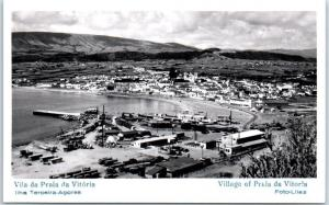 AZORES Portugal RPPC Real Photo Postcard Praia da Vitória Bird's-Eye View Unused