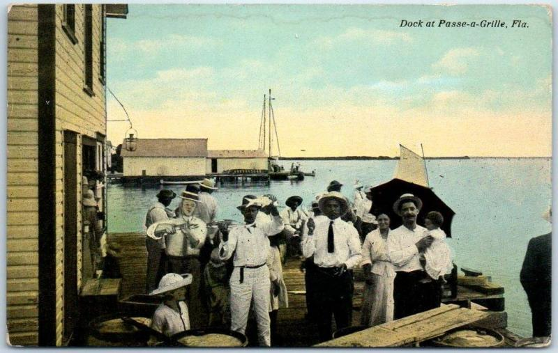 Pass-A-Grille, Florida Postcard Boat Dock / People Scene Curteich c1910s UNUSED
