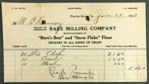 1923 Bare Milling Co Roaring Sprin PA Snow Flake Flour Grain Farming Receipt