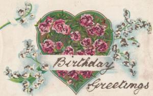 Birthday Greetings 2x REAL GLITTER ANTIQUE Postcard s