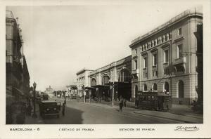 spain, BARCELONA, Estacion de Francia, Station, Tram (1930s) RPPC Postcard