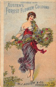 Manchester NH  Austen's Forest Flower Cologne 1800's 3 x 4.25 Tradecard