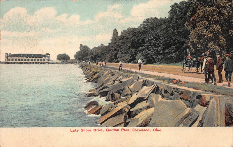 Lake Shore Drive, Gordon Park, Cleveland, Ohio, Early Postcard, Used in 1918