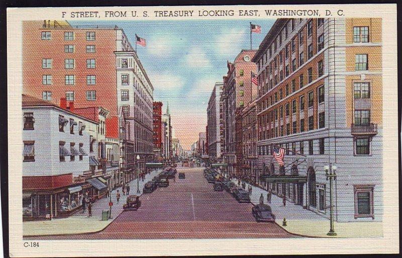 P1520 old unused postcard f street scene cars etc us treasury washington d c