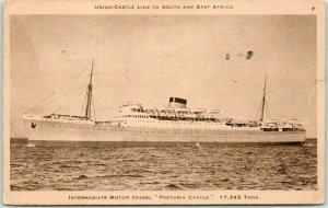 Vintage 1939 UNION-CASTLE LINE Steamship Postcard Motor Vessel PRETORIA Castle