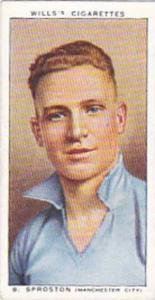 Wills Vintage Cigarette Card Association Footballers No 42 B Sproston Manches...