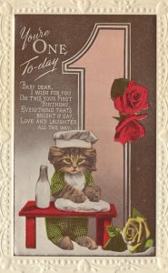 Cat With Pint Of Dairy Milk Birthday Greetings Old Postcard