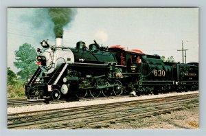 Toccoa GA- Georgia, Southern Railroad Locomotive 630, Vintage Chrome Postcard
