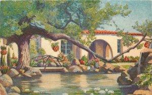 Agua Caliente Villa Tijuana Mexico artist impression Postcard 20-11851